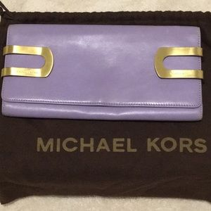 Michael Kors Lavender Clutch w-Gold Clasps